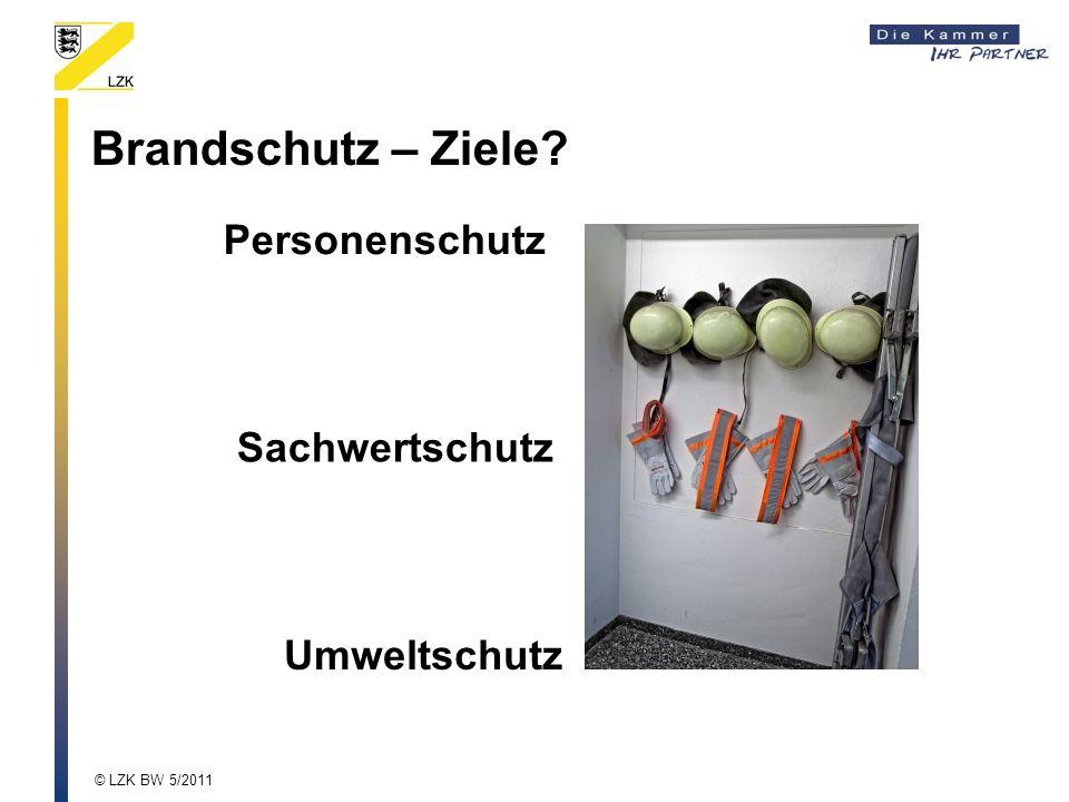 Brandschutz – Ziele? Sachwertschutz Umweltschutz Personenschutz © LZK BW 5/2011