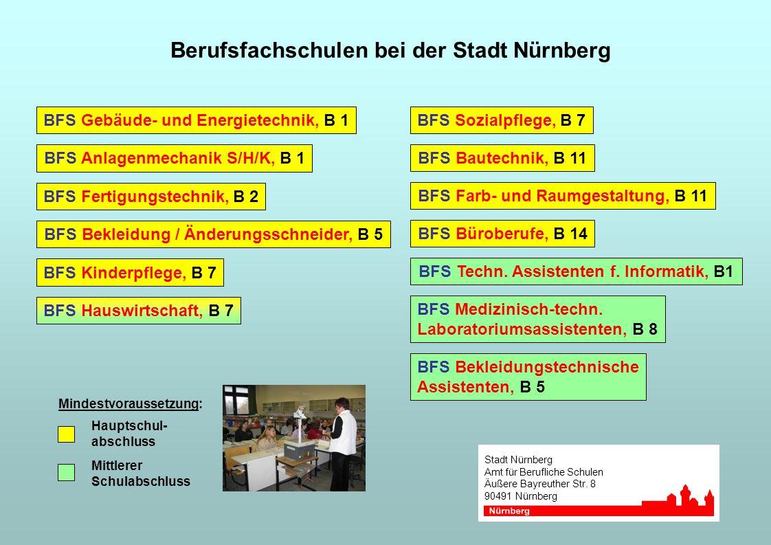 Stadt Nürnberg Amt für Berufliche Schulen Äußere Bayreuther Str. 8 90491 Nürnberg Berufsfachschulen bei der Stadt Nürnberg BFS Kinderpflege, B 7 BFS H