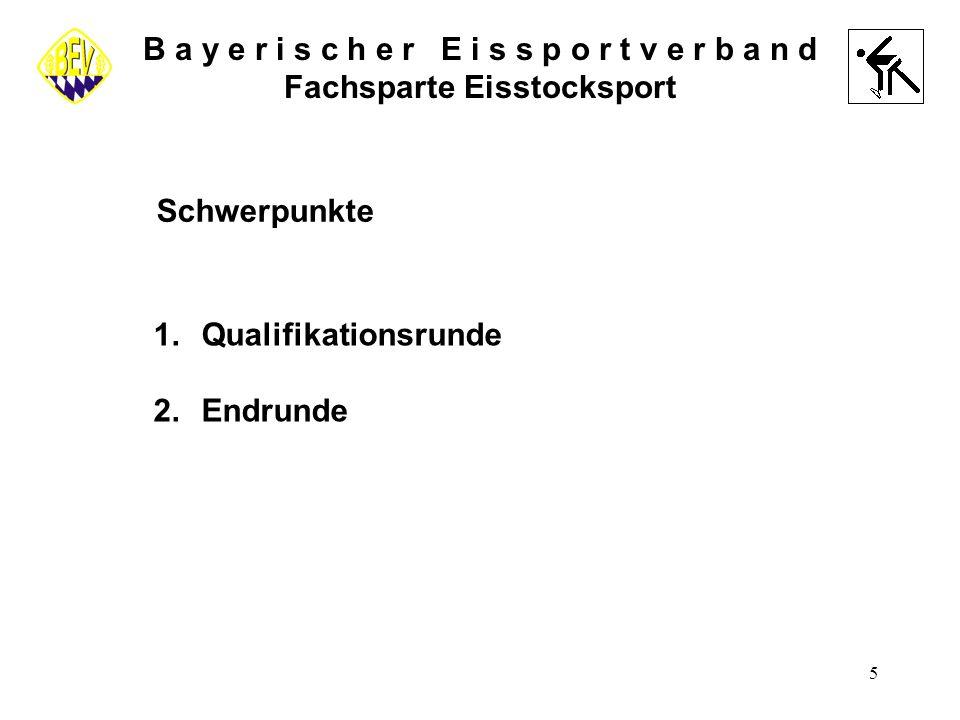 5 B a y e r i s c h e r E i s s p o r t v e r b a n d Fachsparte Eisstocksport Schwerpunkte 1.Qualifikationsrunde 2.Endrunde