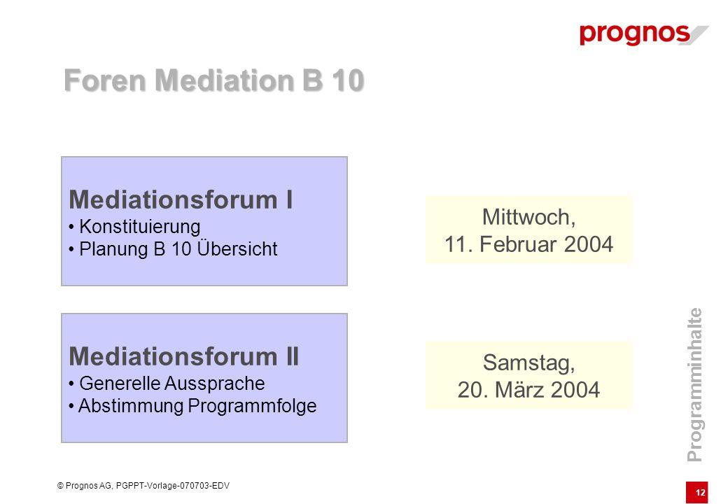 12 © Prognos AG, PGPPT-Vorlage-070703-EDV Programminhalte Mediationsforum I Konstituierung Planung B 10 Übersicht Mediationsforum II Generelle Ausspra