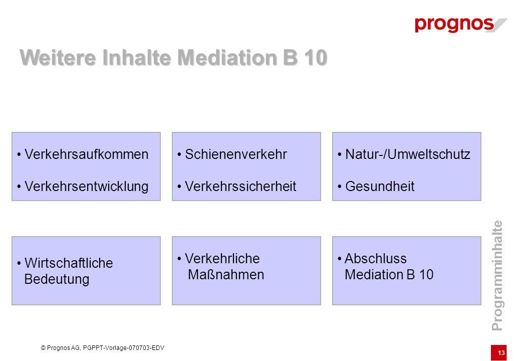 13 © Prognos AG, PGPPT-Vorlage-070703-EDV Verkehrsaufkommen Verkehrsentwicklung Weitere Inhalte Mediation B 10 Natur-/Umweltschutz Gesundheit Schienen