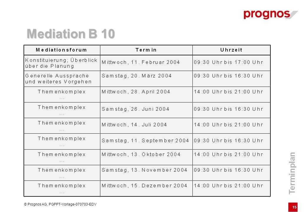 15 © Prognos AG, PGPPT-Vorlage-070703-EDV Terminplan Mediation B 10