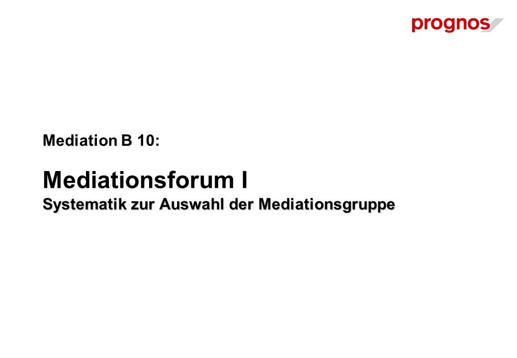 Systematik zur Auswahl der Mediationsgruppe Mediation B 10: Mediationsforum I Systematik zur Auswahl der Mediationsgruppe