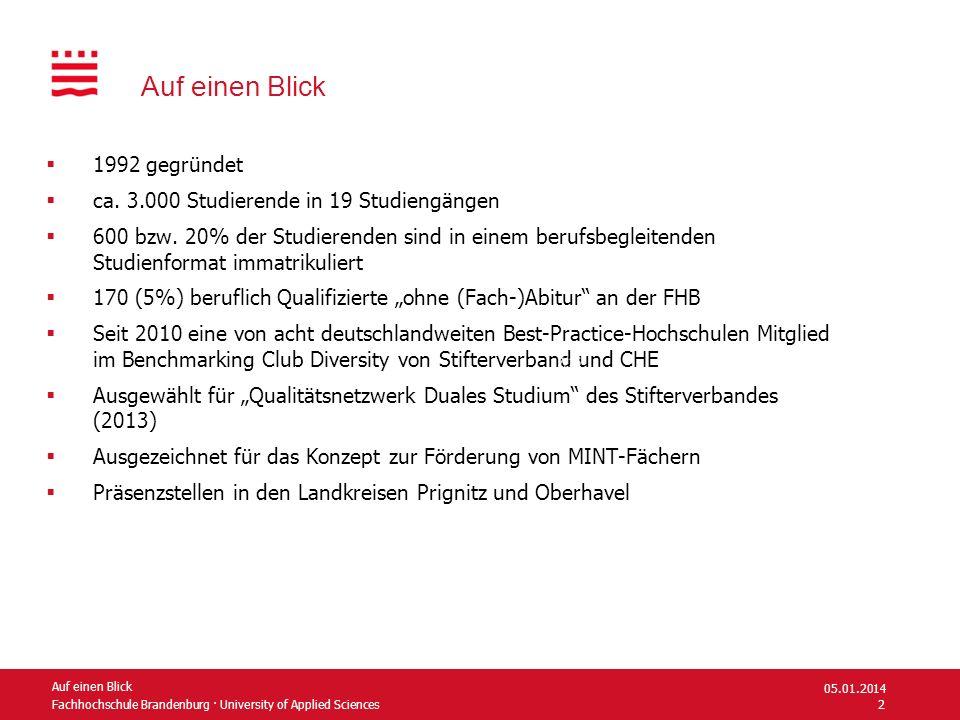 Fachhochschule Brandenburg · University of Applied Sciences Auf einen Blick 1992 gegründet ca. 3.000 Studierende in 19 Studiengängen 600 bzw. 20% der