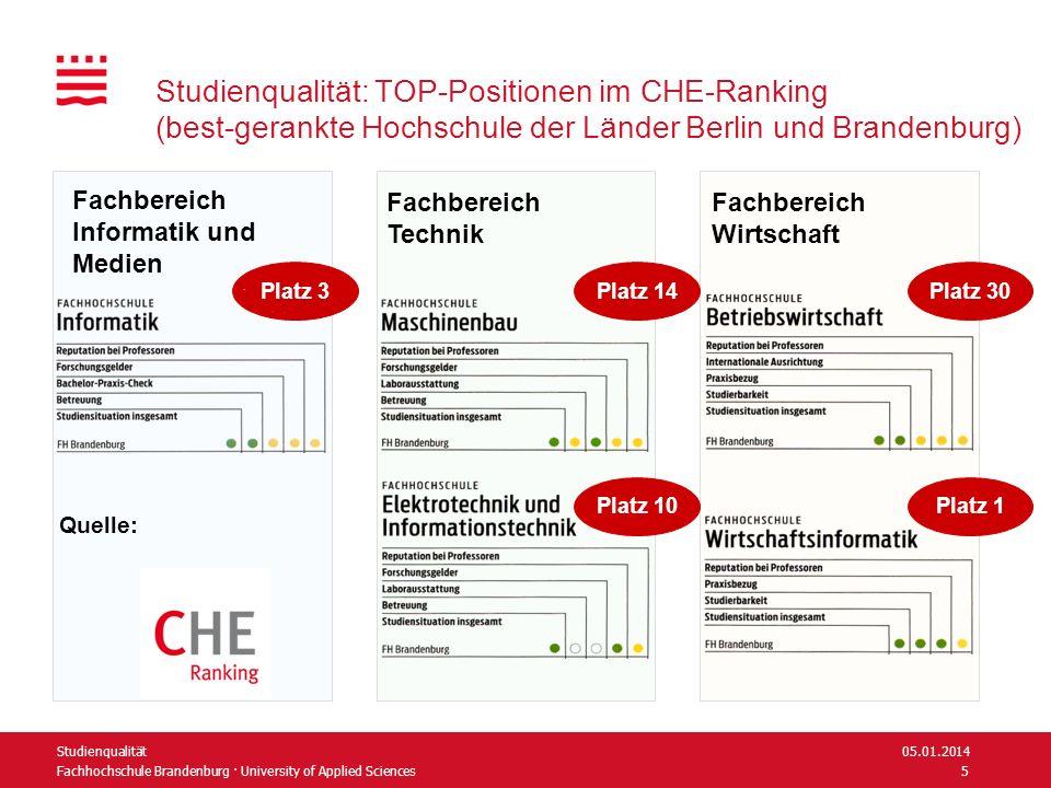 Fachhochschule Brandenburg · University of Applied Sciences Studienqualität: TOP-Positionen im CHE-Ranking (best-gerankte Hochschule der Länder Berlin