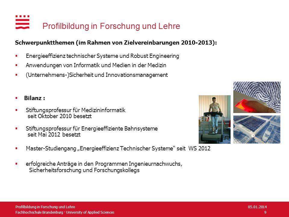 Fachhochschule Brandenburg · University of Applied Sciences Profilbildung in Forschung und Lehre Schwerpunktthemen (im Rahmen von Zielvereinbarungen 2