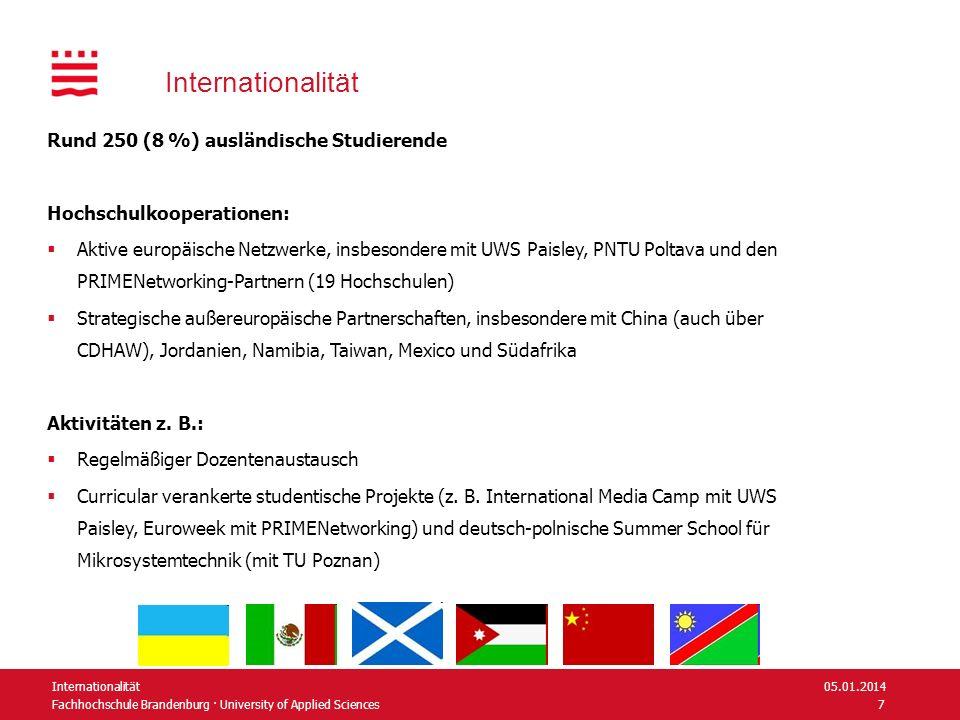 Fachhochschule Brandenburg · University of Applied Sciences Internationalität Rund 250 (8 %) ausländische Studierende Hochschulkooperationen: Aktive e