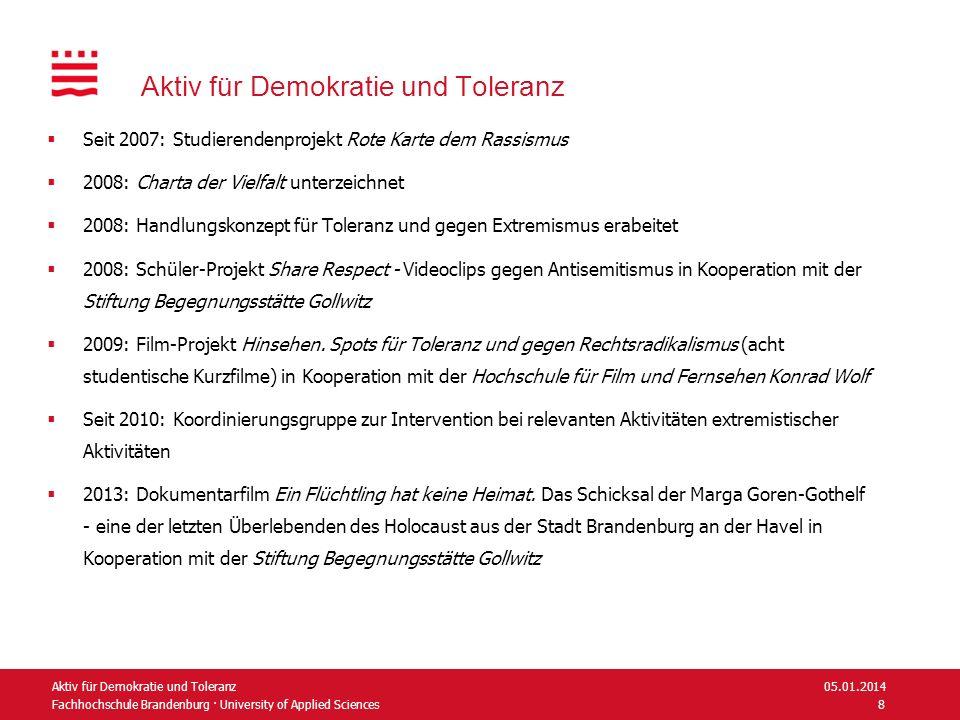 Fachhochschule Brandenburg · University of Applied Sciences Aktiv für Demokratie und Toleranz Seit 2007: Studierendenprojekt Rote Karte dem Rassismus