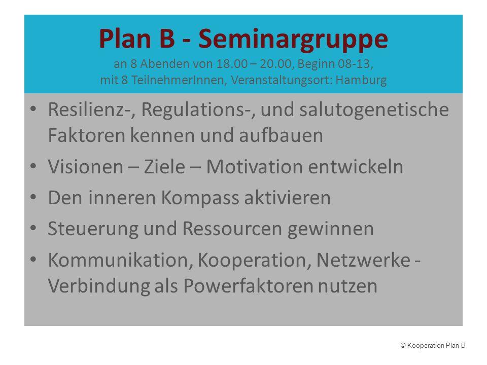 Plan B - Seminargruppe an 8 Abenden von 18.00 – 20.00, Beginn 08-13, mit 8 TeilnehmerInnen, Veranstaltungsort: Hamburg Resilienz-, Regulations-, und s