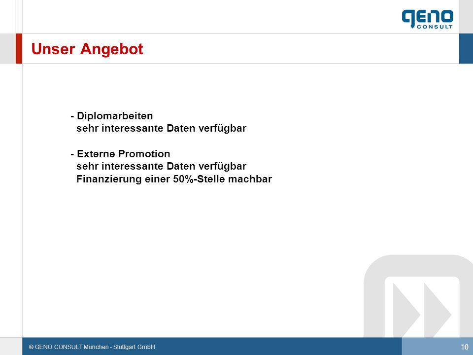 10 © GENO CONSULT München - Stuttgart GmbH Unser Angebot - Diplomarbeiten sehr interessante Daten verfügbar - Externe Promotion sehr interessante Date