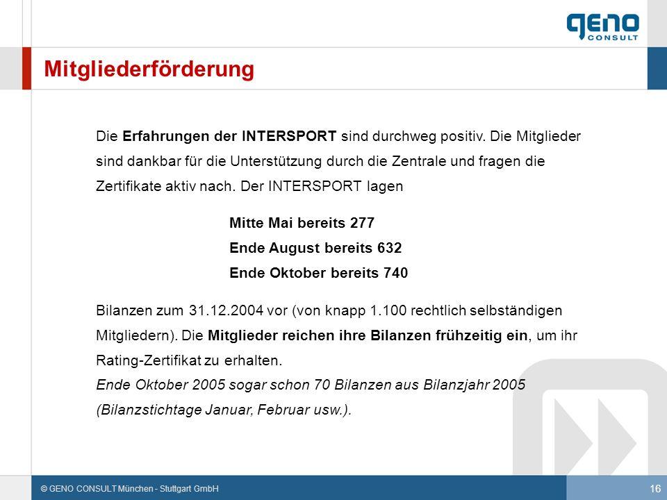 16 © GENO CONSULT München - Stuttgart GmbH Mitgliederförderung Die Erfahrungen der INTERSPORT sind durchweg positiv. Die Mitglieder sind dankbar für d