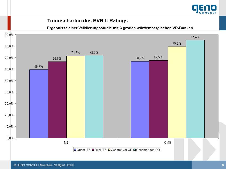 6 © GENO CONSULT München - Stuttgart GmbH Trennschärfen des BVR-II-Ratings Ergebnisse einer Validierungsstudie mit 3 großen württembergischen VR-Banke