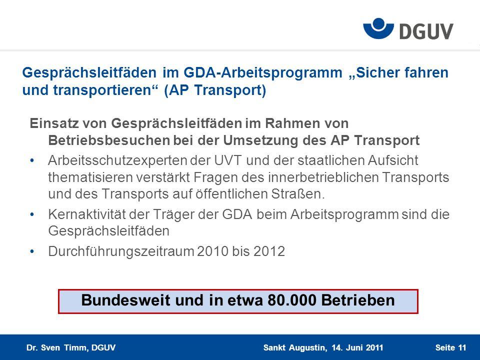 Gesprächsleitfäden im GDA-Arbeitsprogramm Sicher fahren und transportieren (AP Transport) Einsatz von Gesprächsleitfäden im Rahmen von Betriebsbesuche