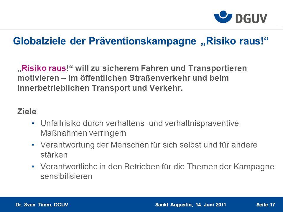 Globalziele der Präventionskampagne Risiko raus! Risiko raus! will zu sicherem Fahren und Transportieren motivieren – im öffentlichen Straßenverkehr u