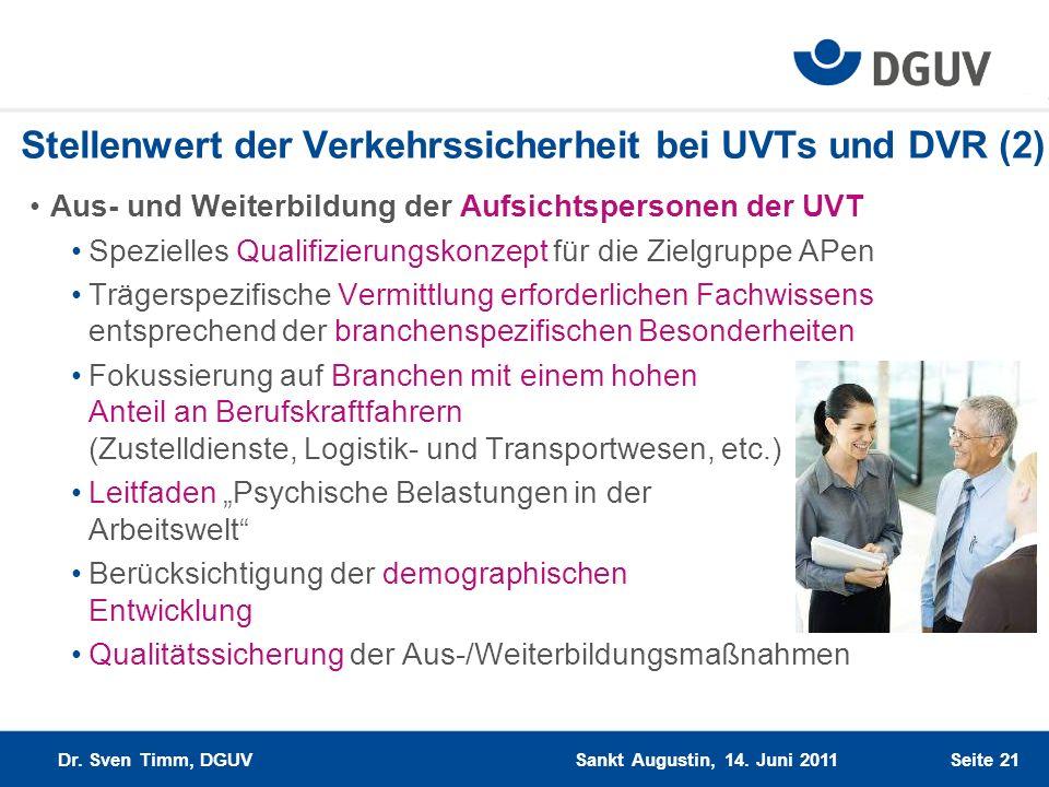 Seite 21 Stellenwert der Verkehrssicherheit bei UVTs und DVR (2) Aus- und Weiterbildung der Aufsichtspersonen der UVT Spezielles Qualifizierungskonzep