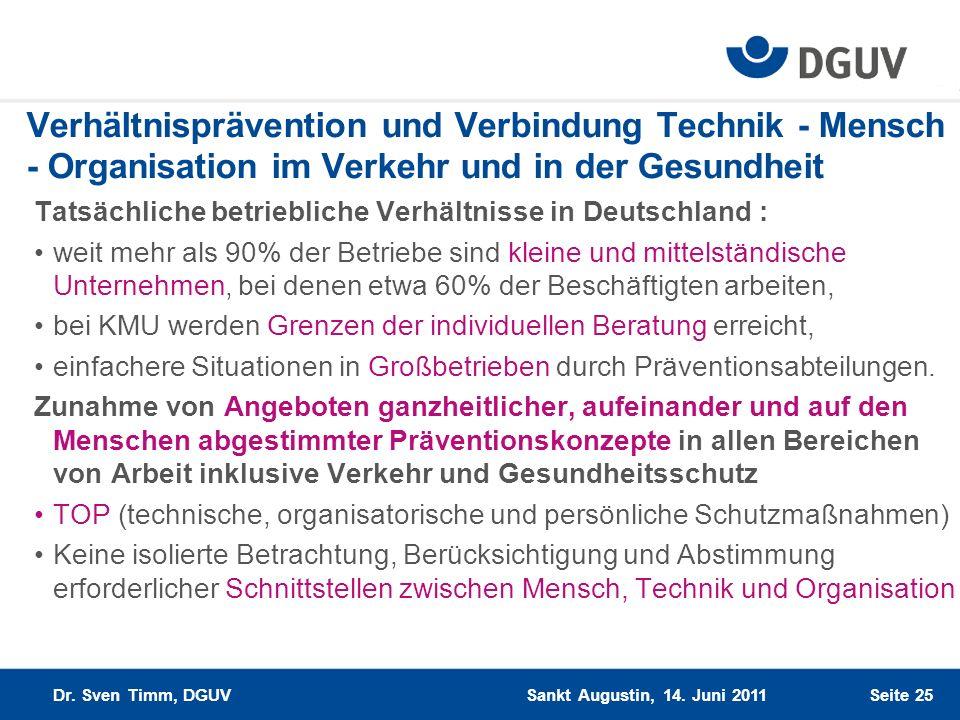 Seite 25 Verhältnisprävention und Verbindung Technik - Mensch - Organisation im Verkehr und in der Gesundheit Tatsächliche betriebliche Verhältnisse i