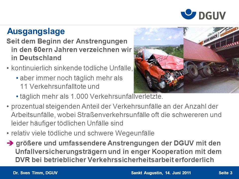 Seite 3 Ausgangslage Seit dem Beginn der Anstrengungen in den 60ern Jahren verzeichnen wir in Deutschland kontinuierlich sinkende tödliche Unfälle, ab