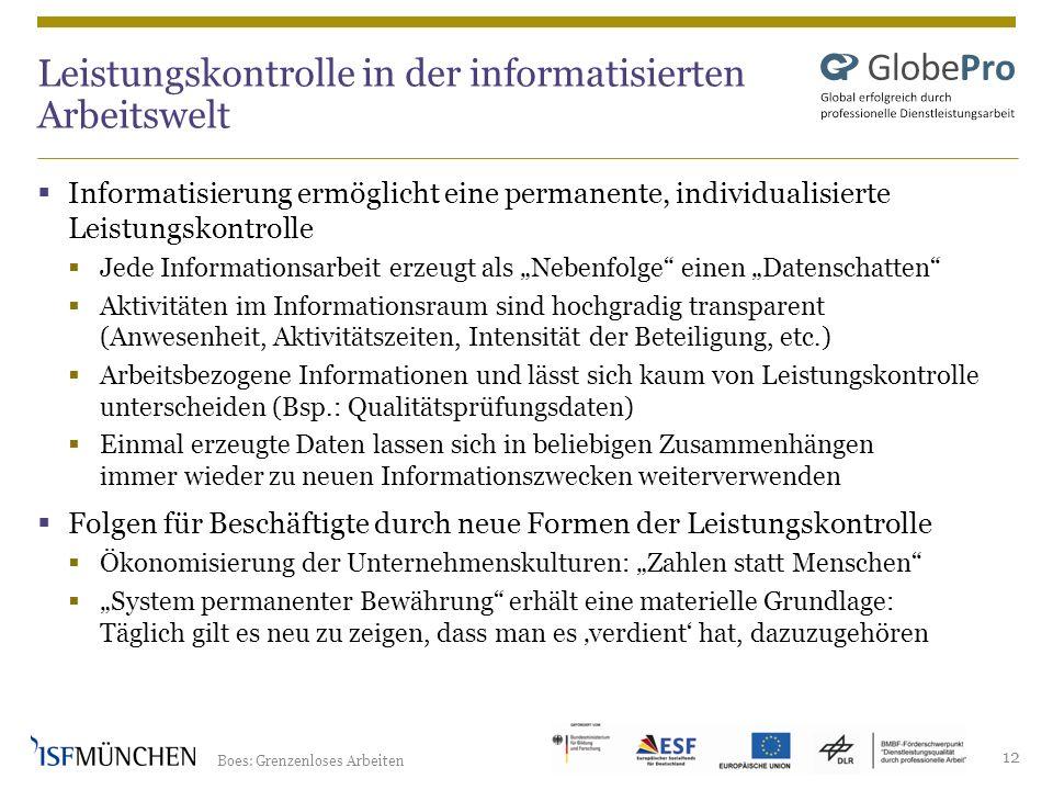 Boes: Grenzenloses Arbeiten 12 Leistungskontrolle in der informatisierten Arbeitswelt Informatisierung ermöglicht eine permanente, individualisierte L