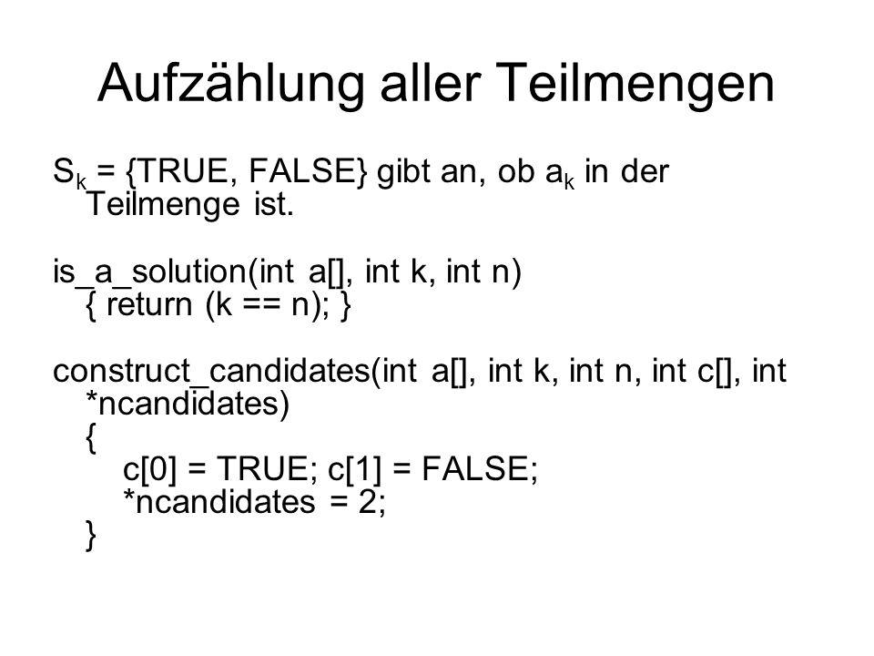 Aufzählung aller Teilmengen process_solution(int a[], int k) { gib Permutation aus } generate subsets(int n) { int a[NMAX]; backtrack(a,0,n); }
