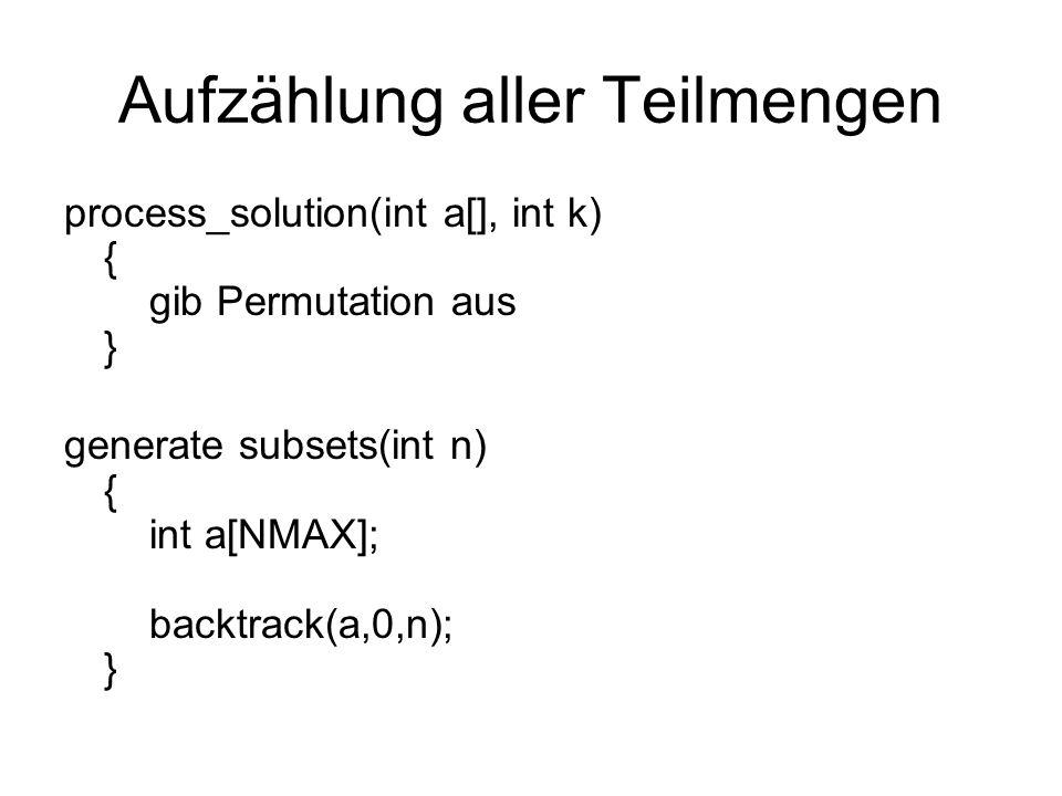 Aufzählung aller Permutationen S k = {1,…,n} process_solution(int a[], int k) { int i;/* counter */ for (i=1; i<=k; i++) printf( %d ,a[i]); printf( \n ); } is_a_solution(int a[], int k, int n) { return (k == n); }