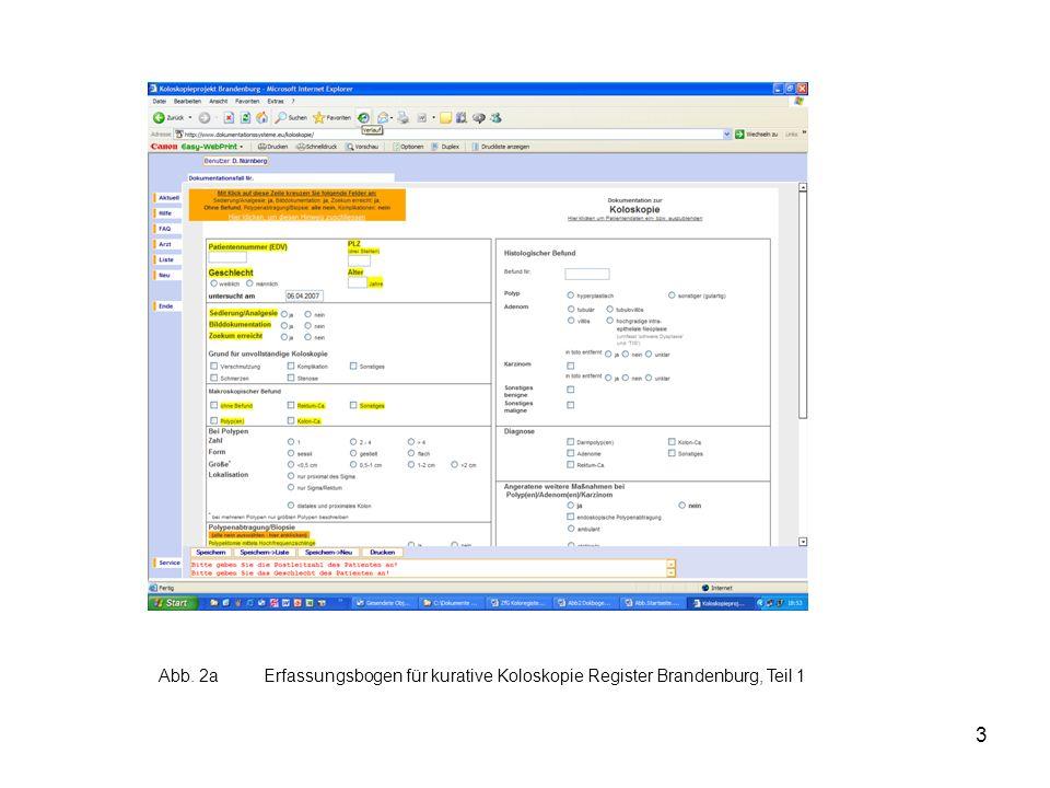 3 Abb. 2aErfassungsbogen für kurative Koloskopie Register Brandenburg, Teil 1