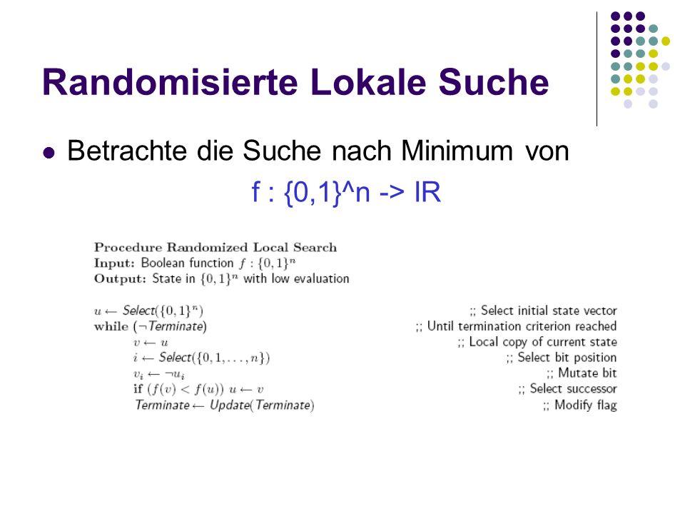 Randomisierte Lokale Suche Betrachte die Suche nach Minimum von f : {0,1}^n -> IR