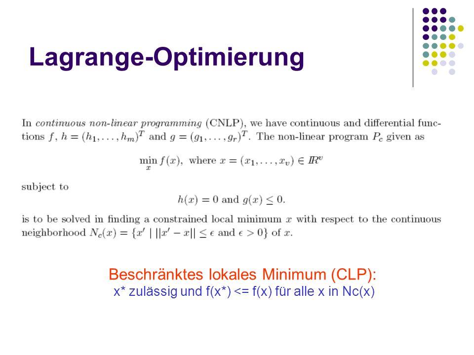 Lagrange-Optimierung Beschränktes lokales Minimum (CLP): x* zulässig und f(x*) <= f(x) für alle x in Nc(x)