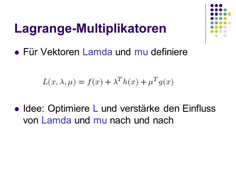 Lagrange-Multiplikatoren Für Vektoren Lamda und mu definiere Idee: Optimiere L und verstärke den Einfluss von Lamda und mu nach und nach