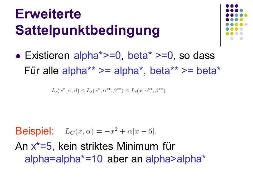 Erweiterte Sattelpunktbedingung Existieren alpha*>=0, beta* >=0, so dass Für alle alpha** >= alpha*, beta** >= beta* Beispiel: An x*=5, kein striktes
