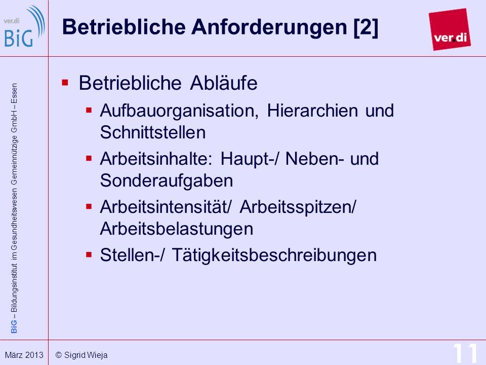BiG – Bildungsinstitut im Gesundheitswesen Gemeinnützige GmbH – Essen 11 März 2013 © Sigrid Wieja Betriebliche Anforderungen [2] Betriebliche Abläufe
