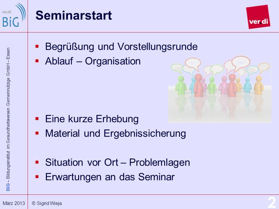 BiG – Bildungsinstitut im Gesundheitswesen Gemeinnützige GmbH – Essen 2 März 2013 © Sigrid Wieja Seminarstart Begrüßung und Vorstellungsrunde Ablauf –