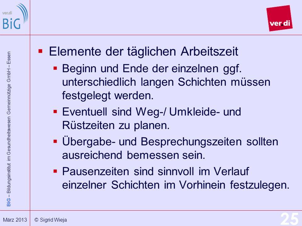 BiG – Bildungsinstitut im Gesundheitswesen Gemeinnützige GmbH – Essen 25 März 2013 © Sigrid Wieja Elemente der täglichen Arbeitszeit Beginn und Ende d