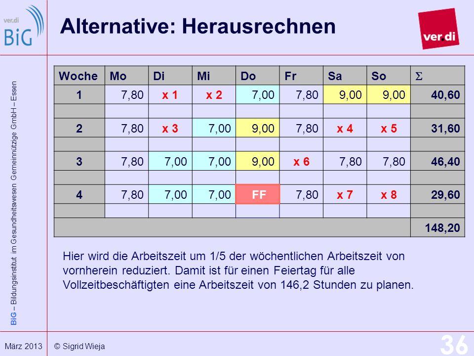 BiG – Bildungsinstitut im Gesundheitswesen Gemeinnützige GmbH – Essen 36 März 2013 © Sigrid Wieja Alternative: Herausrechnen WocheMoDiMiDoFrSaSo 17,80