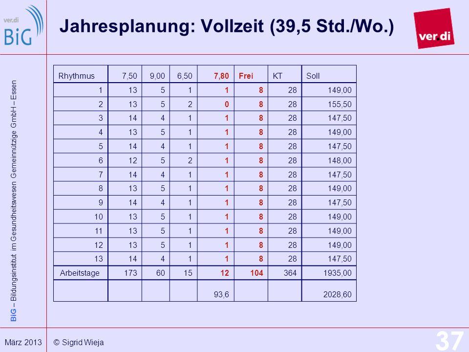 BiG – Bildungsinstitut im Gesundheitswesen Gemeinnützige GmbH – Essen 37 März 2013 © Sigrid Wieja Jahresplanung: Vollzeit (39,5 Std./Wo.) Rhythmus7,50