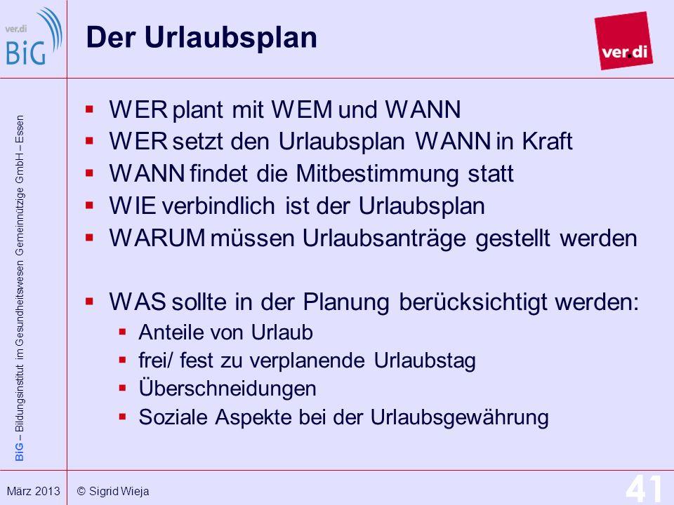 BiG – Bildungsinstitut im Gesundheitswesen Gemeinnützige GmbH – Essen 41 März 2013 © Sigrid Wieja Der Urlaubsplan WER plant mit WEM und WANN WER setzt