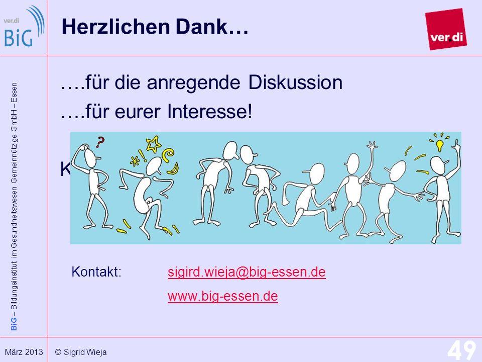 BiG – Bildungsinstitut im Gesundheitswesen Gemeinnützige GmbH – Essen 49 März 2013 © Sigrid Wieja Herzlichen Dank… ….für die anregende Diskussion ….fü