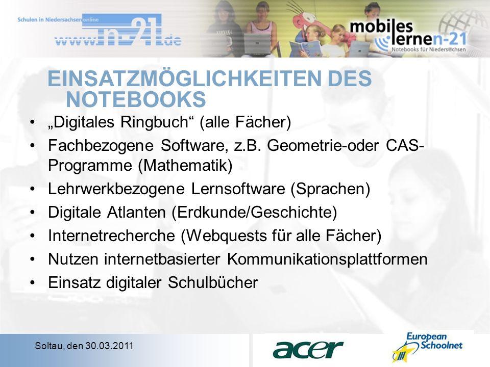 Soltau, den 30.03.2011 Digitales Ringbuch (alle Fächer) Fachbezogene Software, z.B.