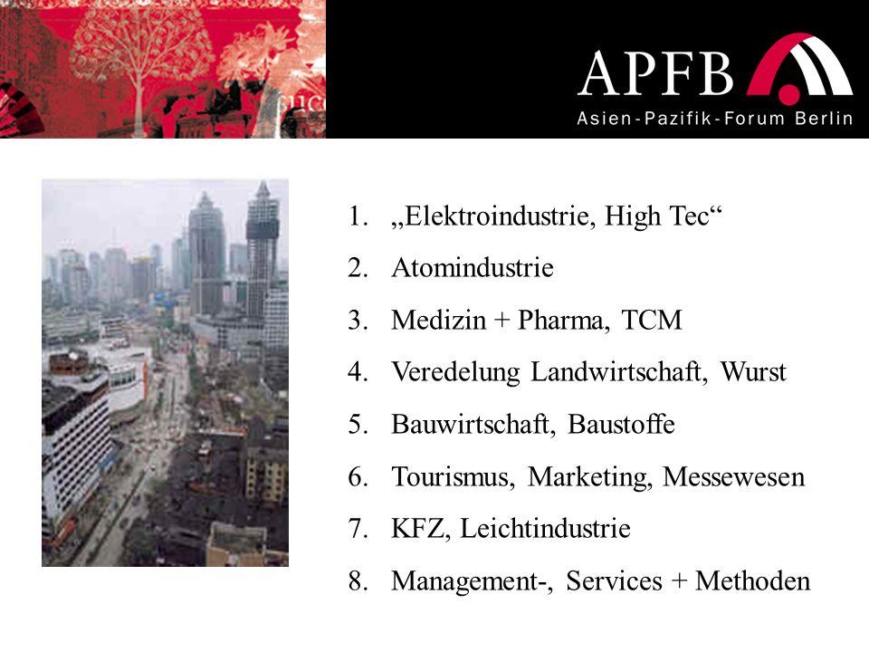 1.Elektroindustrie, High Tec 2.Atomindustrie 3.Medizin + Pharma, TCM 4.Veredelung Landwirtschaft, Wurst 5.Bauwirtschaft, Baustoffe 6.Tourismus, Market