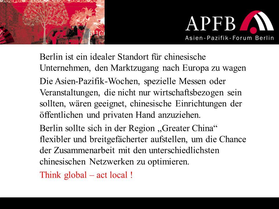 Berlin ist ein idealer Standort für chinesische Unternehmen, den Marktzugang nach Europa zu wagen Die Asien-Pazifik-Wochen, spezielle Messen oder Vera