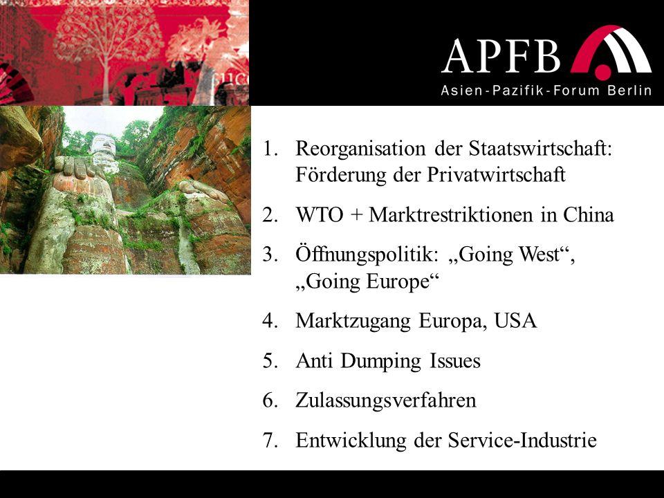 1.Reorganisation der Staatswirtschaft: Förderung der Privatwirtschaft 2.WTO + Marktrestriktionen in China 3.Öffnungspolitik: Going West, Going Europe