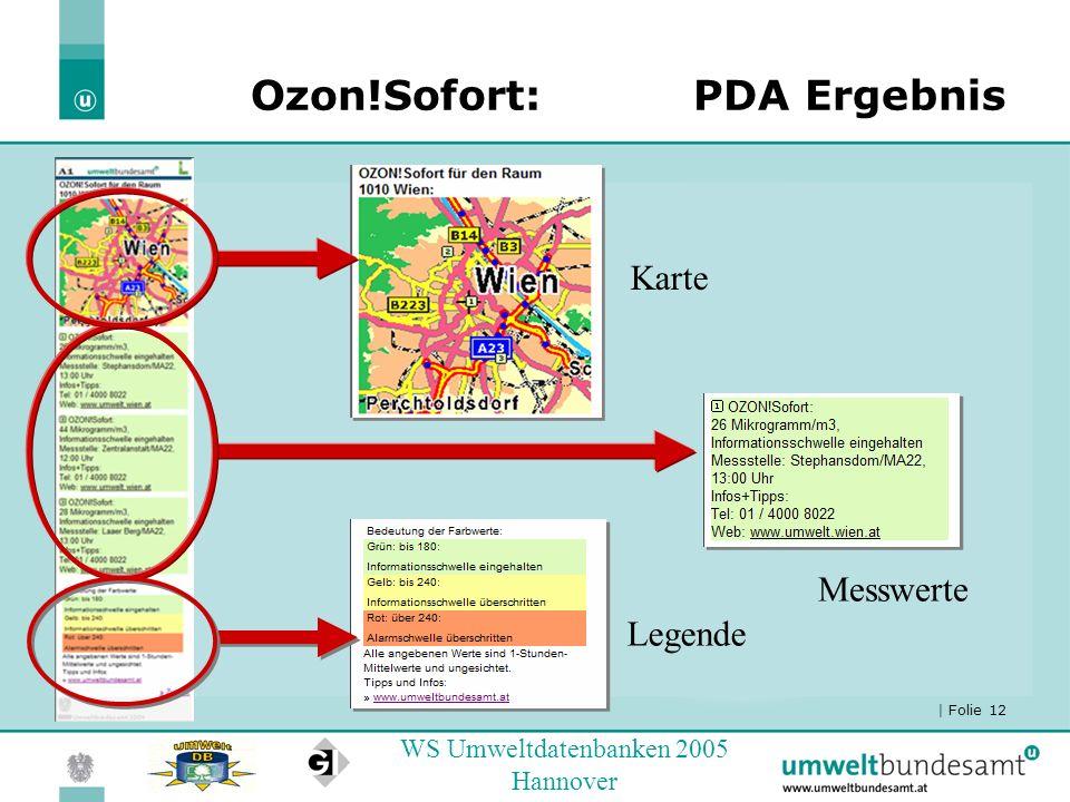 | Folie 12 WS Umweltdatenbanken 2005 Hannover Ozon!Sofort: PDA Ergebnis Karte Messwerte Legende