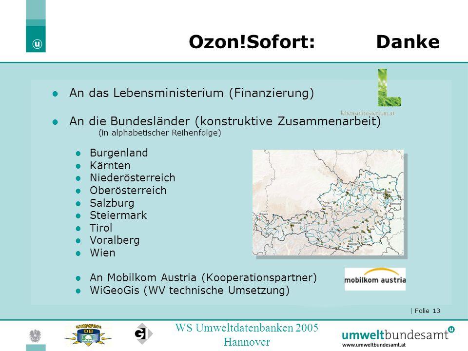 | Folie 13 WS Umweltdatenbanken 2005 Hannover Ozon!Sofort:Danke An das Lebensministerium (Finanzierung) An die Bundesländer (konstruktive Zusammenarbe