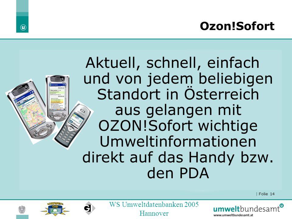 | Folie 14 WS Umweltdatenbanken 2005 Hannover Ozon!Sofort Aktuell, schnell, einfach und von jedem beliebigen Standort in Österreich aus gelangen mit O