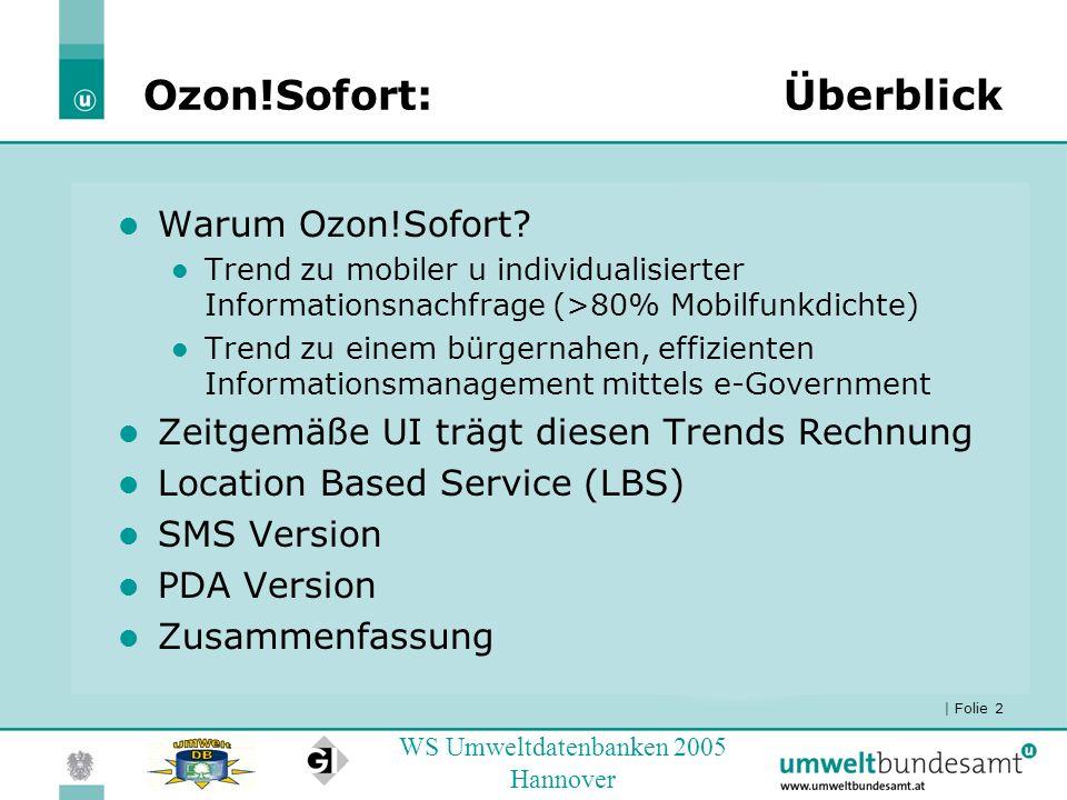 | Folie 2 WS Umweltdatenbanken 2005 Hannover Ozon!Sofort:Überblick Warum Ozon!Sofort? Trend zu mobiler u individualisierter Informationsnachfrage (>80
