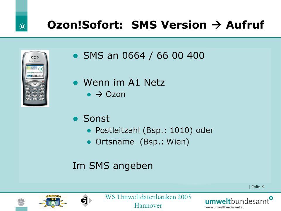 | Folie 9 WS Umweltdatenbanken 2005 Hannover Ozon!Sofort:SMS Version Aufruf SMS an 0664 / 66 00 400 Wenn im A1 Netz Ozon Sonst Postleitzahl (Bsp.: 101