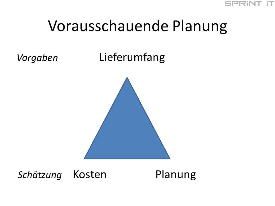 Vorausschauende Planung Vorgaben Lieferumfang Schätzung KostenPlanung