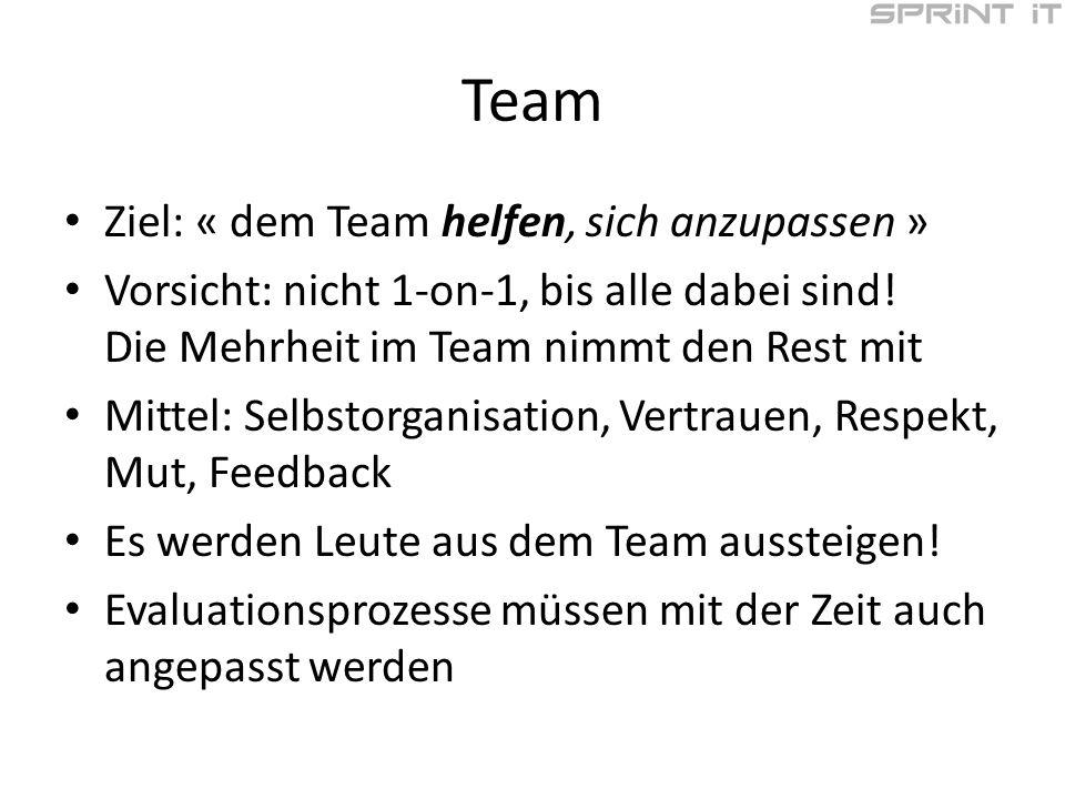 Team Ziel: « dem Team helfen, sich anzupassen » Vorsicht: nicht 1-on-1, bis alle dabei sind.