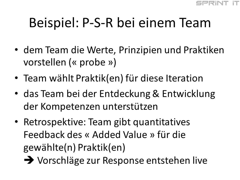 Beispiel: P-S-R bei einem Team dem Team die Werte, Prinzipien und Praktiken vorstellen (« probe ») Team wählt Praktik(en) für diese Iteration das Team bei der Entdeckung & Entwicklung der Kompetenzen unterstützen Retrospektive: Team gibt quantitatives Feedback des « Added Value » für die gewählte(n) Praktik(en) Vorschläge zur Response entstehen live