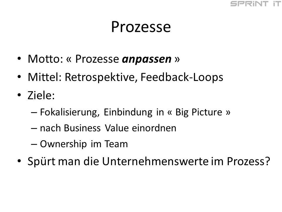 Prozesse Motto: « Prozesse anpassen » Mittel: Retrospektive, Feedback-Loops Ziele: – Fokalisierung, Einbindung in « Big Picture » – nach Business Value einordnen – Ownership im Team Spürt man die Unternehmenswerte im Prozess