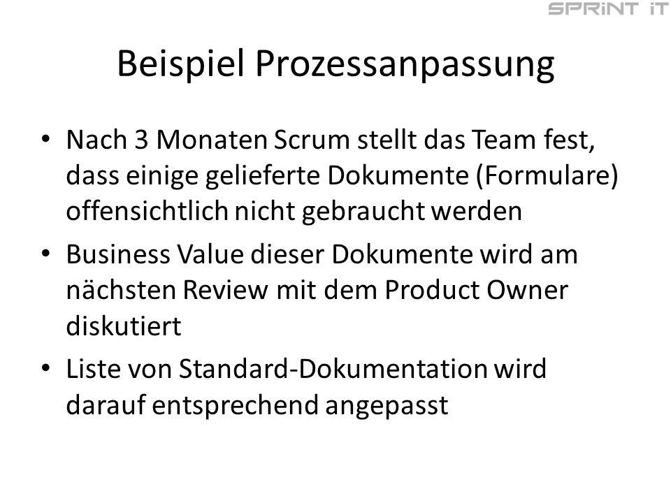 Beispiel Prozessanpassung Nach 3 Monaten Scrum stellt das Team fest, dass einige gelieferte Dokumente (Formulare) offensichtlich nicht gebraucht werden Business Value dieser Dokumente wird am nächsten Review mit dem Product Owner diskutiert Liste von Standard-Dokumentation wird darauf entsprechend angepasst